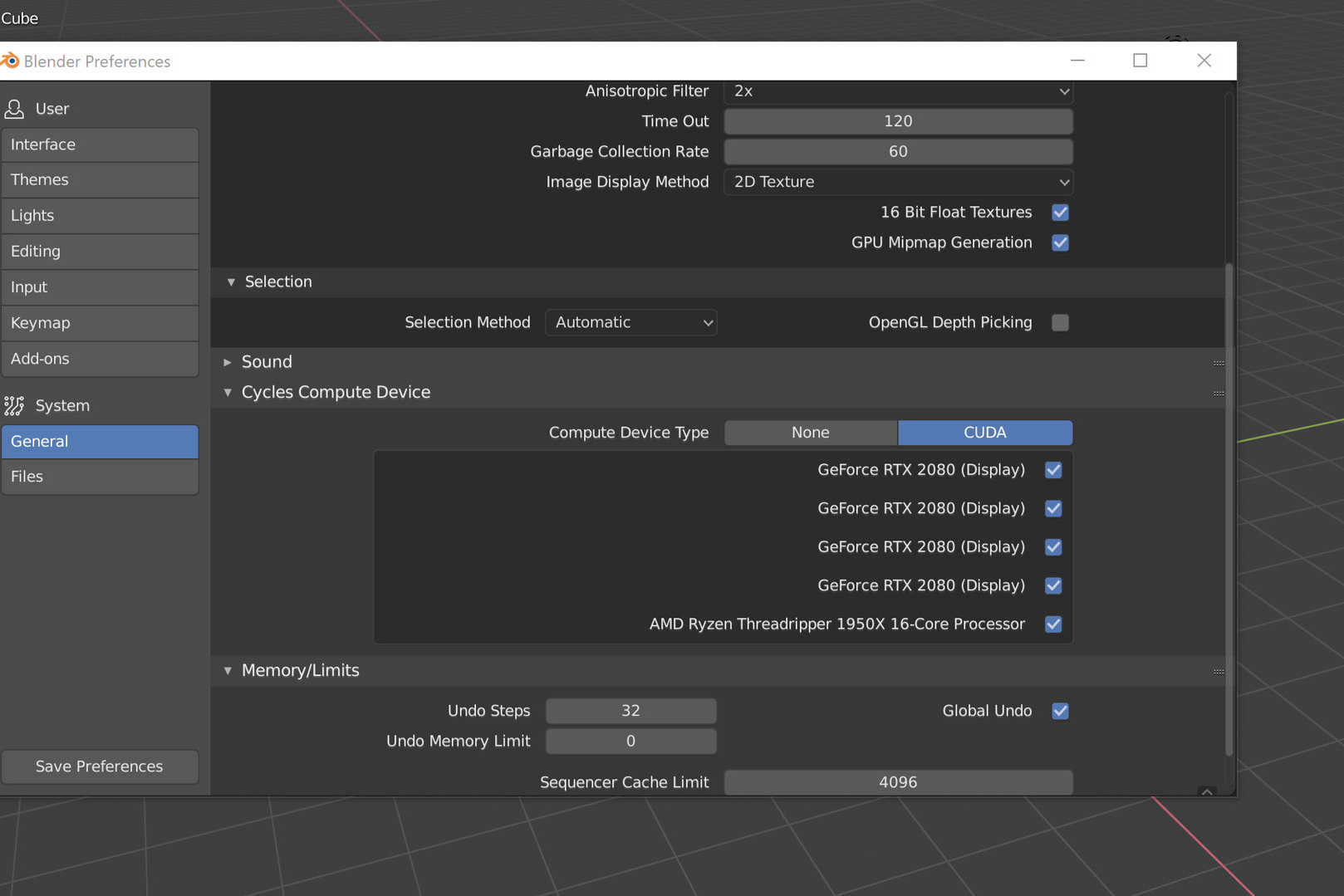 System Settings Blender