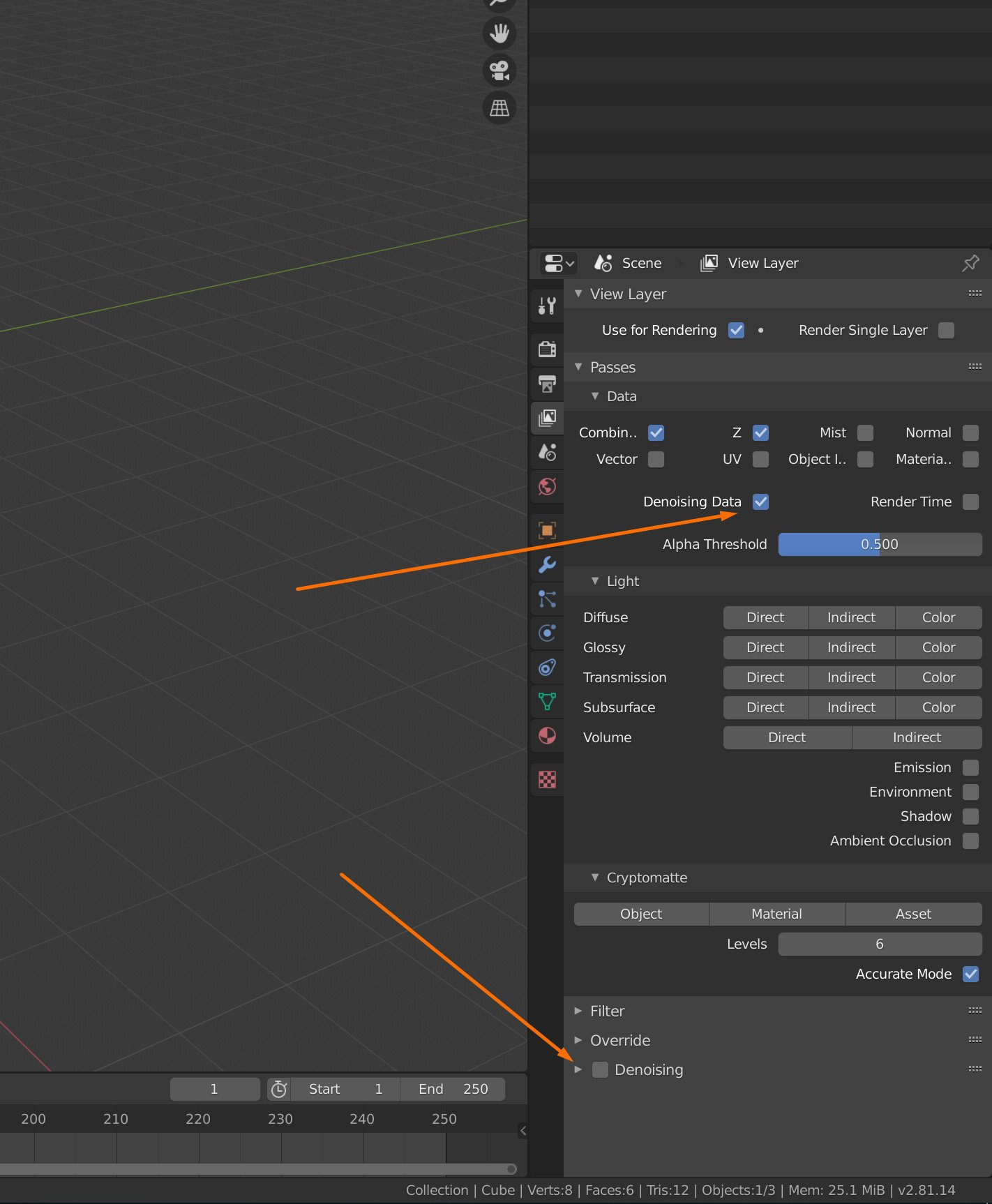 Screenshot of Blender 2.81 View Layer Properites setting up for Denoising with IOID