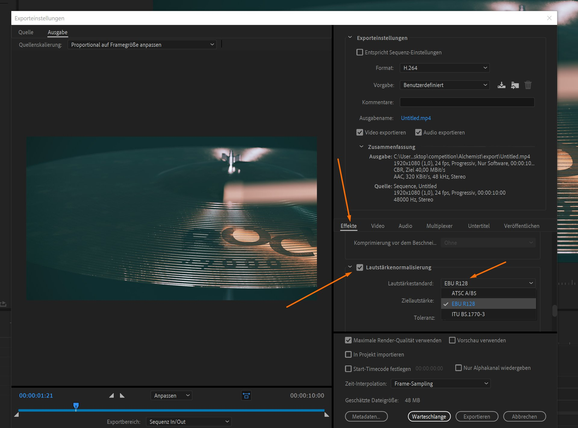Screenshot of Premiere Pro CC 2019 which explains, how to set up the EBU-R128 Filter