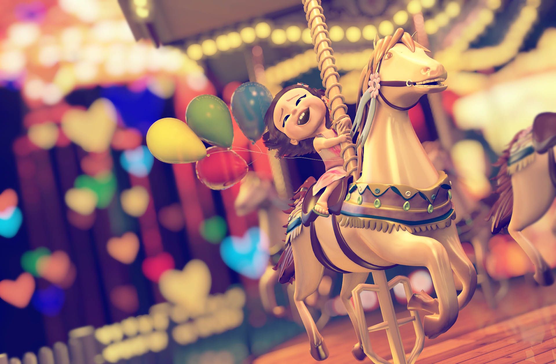 little girl on a hourse of a carousel 3d animated